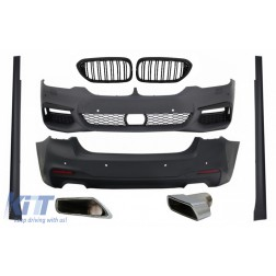 Complete Body Kit with Central Kidney Grilles Piano Black Double Stripe and Exhaust Muffler Tips suitable for BMW 5 Series G30 (2017-up) M-Tech Design