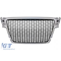 Badgeless Front Grille suitable for AUDI A4 B8 (2007-2012) Limousine Avant RS Design Silver