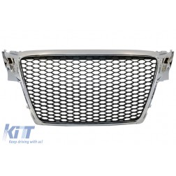 Badgeless Front Grille suitable for AUDI A4 B8 (2007-2012) RS Design Chrome