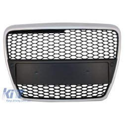 Badgeless Front Grille suitable for Audi A6 C6 (2004-2008) RS Design Matte Silver