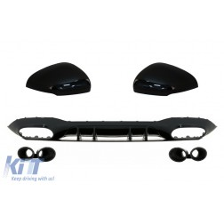 Rear Bumper Diffuser with Black Exhaust and Mirror Cover suitable for Mercedes A-Class V177 Sedan (09.2018-up)