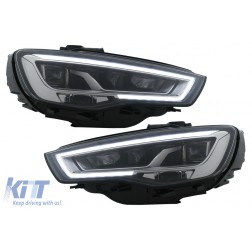 Full LED Headlights suitable for Audi A3 8V Pre-Facelift (2013-2016) Upgrade for Halogen with Sequential Dynamic Turning Lights LHD