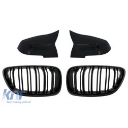 Central Kidney Grilles Double Stripe with Mirror Covers suitable for BMW 2 Series F22 F23 (2014-up) M Design Piano Black