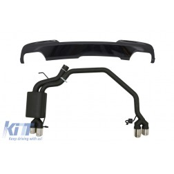 Diffuser Piano Black with Exhaust System Twin Double Exhaust Pipes suitable for BMW 5 Series F10 (2011-2016) 102-433/70RS