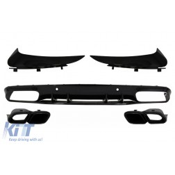 Bumper Valance Diffuser with Rear Bumper Flaps suitable for MERCEDES C-Class C205 A205 Coupe Cabriolet (2014-2019) Facelift C63S Design All Black