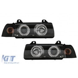 Headlights suitable for BMW E36 (1990-1999) Angel Eyes Black