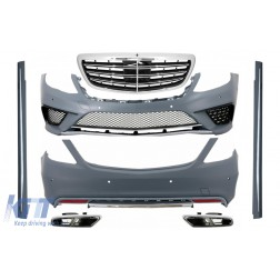 Body Kit with Exhaust Muffler Tips Chrome and Front Grille suitable for Mercedes S-Class W222 (2013-06.2017) S63 Design
