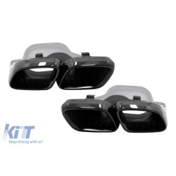 Exhaust Muffler Tips suitable for Mercedes C-Class W205 S205 C205 A205 C63 C63S Facelift (2019-up) Black