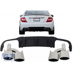 Rear Bumper Valance Air Diffuser Muffler Tips suitable for Mercedes C-class W204 AMG Sport Line (2012-2014) Limousine