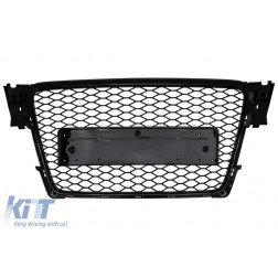 Badgeless Front Grille suitable for Audi A4 B8 (2007-2012) RS Design Piano Black