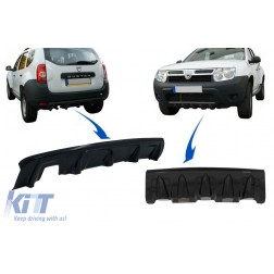 Front and Rear Bumper Skid Plate Protection suitable for DACIA Duster 4x4 / 4x2 (2010-2017) Piano Black