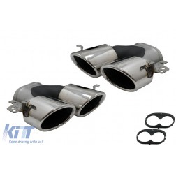 Exhaust Muffler Tips suitable for Mercedes A-Class W177 CLA II X118 C118 GLA SUV H247 GLB SUV X247 35 AMG / 45 AMG (2018-) 45S Design Chrome
