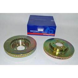 Brake Disc Front 2.7 TDV6 & 4.0 V6 Drilled & Grooved Pair (Britpart) SDB000604 DA4612 *See Notes*